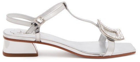 Vicky Viv Crystal-buckle Metallic-leather Sandals - Silver