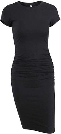 Missufe Women's Short Sleeve Ruched Casual Sundress Midi Bodycon T Shirt Dress at Amazon Women's Clothing store