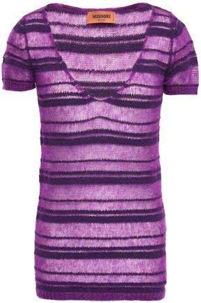 Striped Crochet-knit Top