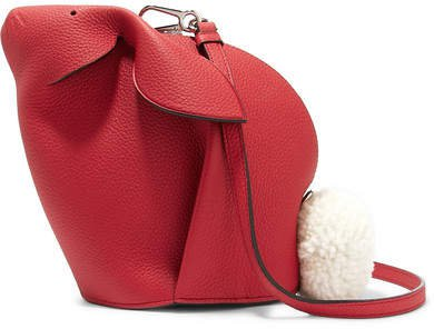 Bunny Mini Shearling-trimmed Textured-leather Shoulder Bag