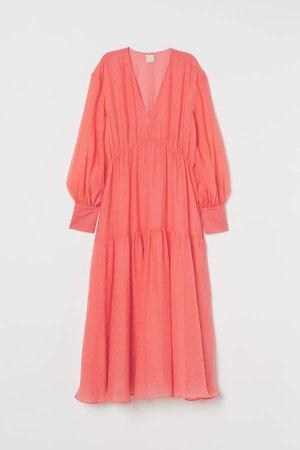 Long Lyocell-blend Dress - Red