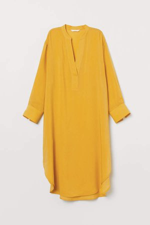 Lyocell-blend Dress - Yellow
