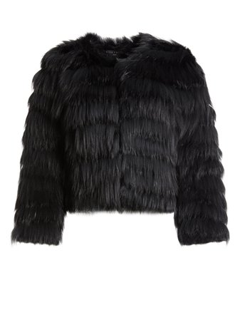 FAWN FUR JACKET IN BLACK | Alice + Olivia
