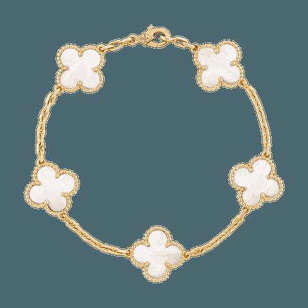 Van Cleef & Arpels, Vintage Alhambra bracelet, 5 motifs Yellow gold, Mother-of-pearl