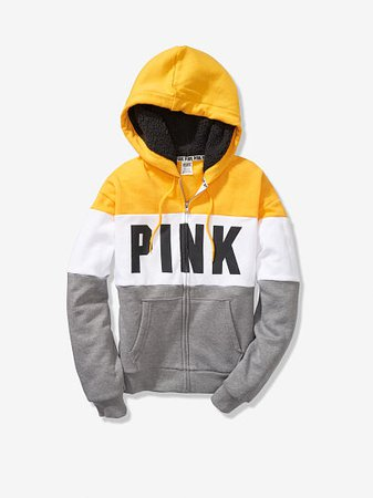 Sherpa Lined Hood Slouchy Full-Zip - PINK - Victoria's Secret