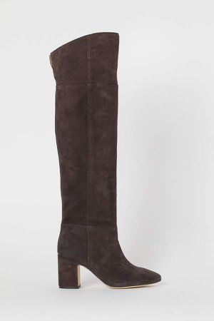Suede Knee-high Boots - Brown