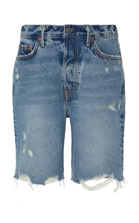 GRLFRND Denim Marjan Distressed Denim Shorts