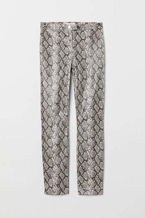 Snakeskin-patterned Pants - Black