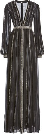 Costarellos Maven Sequined Silk Chiffon Gown