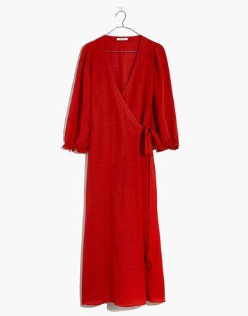 Linen-Blend Ruffle-Cuff Wrap Dress