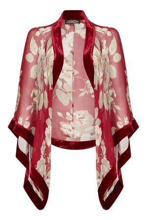 Nancy Mac Sable jumpsuit in deep red silk velvet