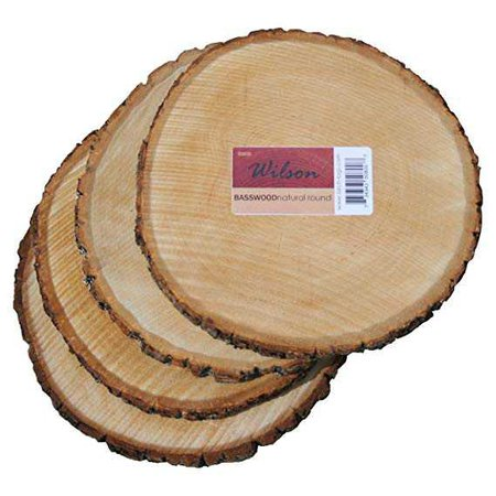"Amazon.com: Wilson Enterprises 4 Pack Basswood Round Rustic Wood, Unsanded, 9-11"" Diameter (Large) Excellent for Wedding Centerpiece, DIY Woodland Projects, Table Chargers, or Country Decor: Home & Kitchen"