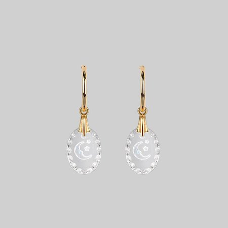 LYRAE. Moon & Stars Glass Earrings - Gold – REGALROSE