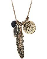 Amazon.com: Pomina Gold Silver Two Tone Filigree Leaf Pendant Long Necklace Chic Pendant Chain Necklace for Women (Worn Choco Gold): Clothing