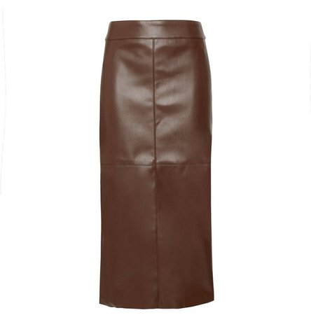 **DP Tall Brown Faux Leather Midi Skirt