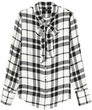 Dillon-Fit Tie-Neck Flannel Shirt