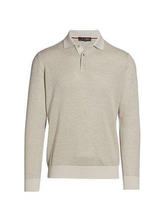 Loro Piana Long-Sleeve Polo Shirt | SaksFifthAvenue