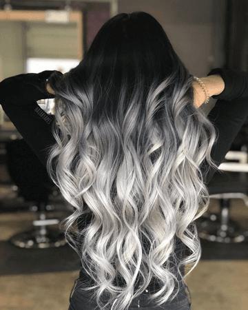 Black - Silver hair