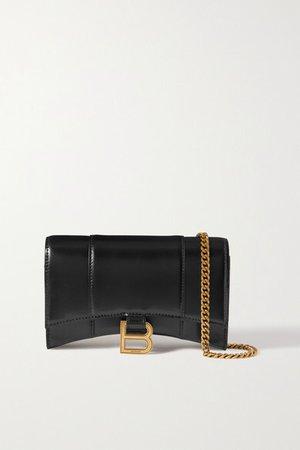 Hourglass Leather Shoulder Bag - Black