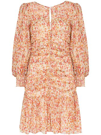 byTiMo Ruched Floral Print Mini Dress - Farfetch