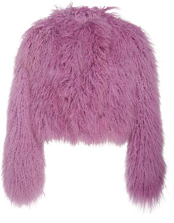 Shaggy Cropped Tibet Lamb Coat Size: M