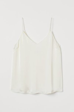 Satin Tank Top - White - Ladies | H&M US