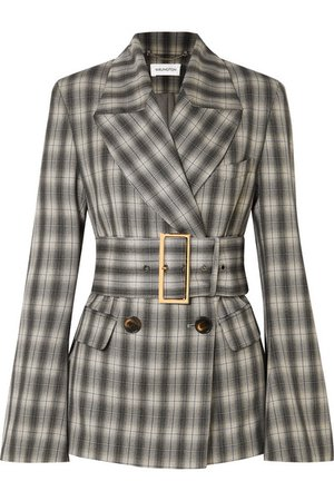 16ARLINGTON | Jaclyn belted double-breasted checked crepe blazer | NET-A-PORTER.COM