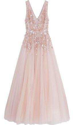 Embellished Glittered Tulle Gown