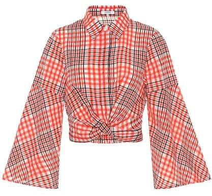 Checked cotton-blend blouse