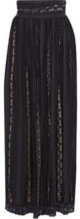 Lace-paneled Crepe De Chine Maxi Skirt