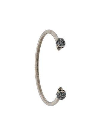 Silver Alexander McQueen Jewelled Twin Skull bracelet- Farfetch