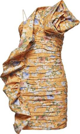 Magda Butrym Ruffle Trim Floral Mini Dress