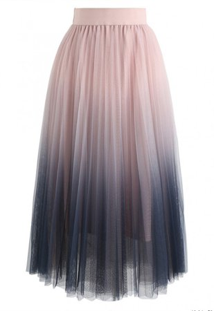 Cherished Memories Gradient Pleated Tulle Skirt in Pink - Skirt - BOTTOMS - Retro, Indie and Unique Fashion