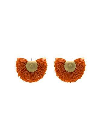 Katerina Makriyianni orange Fan fringed wool cashmere blend earrings £150 - Shop Online - Fast Delivery, Free Returns