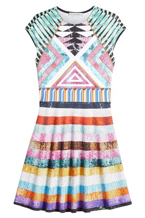 Printed Dress with Sequins Gr. M