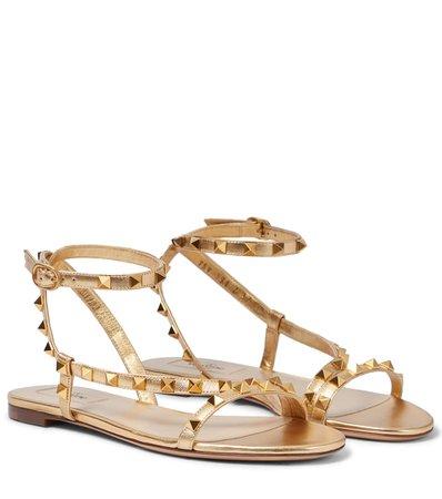 Valentino Garavani - Valentino Garavani Rockstud metallic leather sandals | Mytheresa