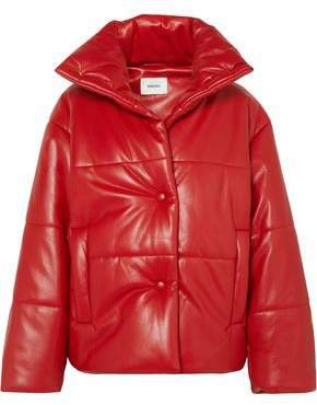 Hide Oversized Quilted Vegan Leather Down Jacket