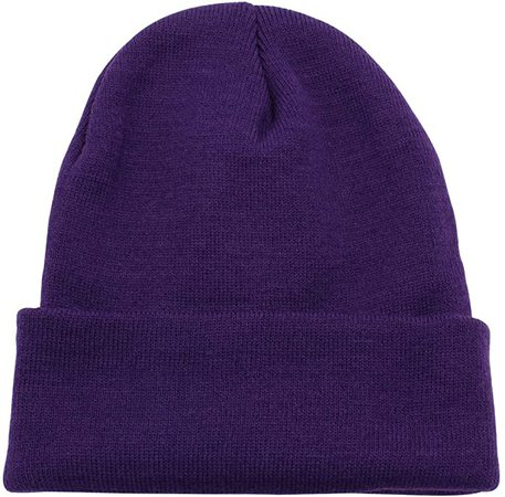 Top Level Unisex Cuffed Plain Skull Beanie Toboggan Knit Hat/Cap, Purple at Amazon Men's Clothing store