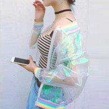 Online Shop Jacket Rainbow Bomber Women Clear Iridescent Summer Hologram Basic Coat Sunproof Laser Transparent Hot New 2018   Aliexpress Mobile_en title