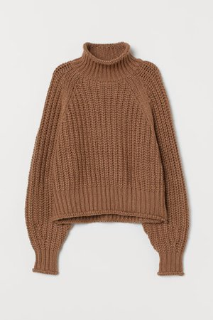 Ribbed Turtleneck Sweater - Dark beige - Ladies | H&M CA