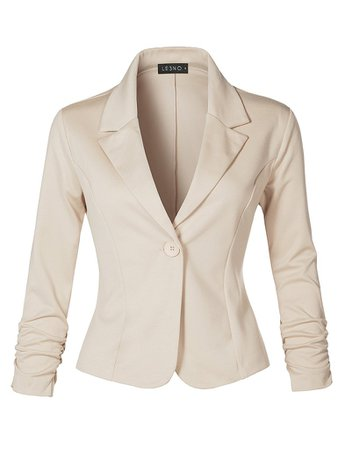 Slim Fit Ruched Long Sleeve Single Button Down Work Office Blazer Jack | LE3NO tan
