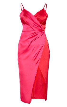 Red Colour Block Satin Wrap Detail Midi Dress   PrettyLittleThing USA
