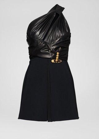 Versace Draped Nappa Leather Mini Dress