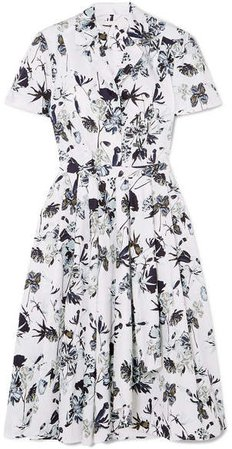 Collection - Pleated Floral-print Cotton-poplin Dress - White