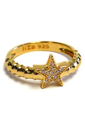 Liza Schwartz | 18K Gold Plated Sterling Silver Pave CZ Star Ring | Nordstrom Rack