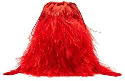 The Beaded Ostrich Feather Satin Clutch Bag - Womens - Red