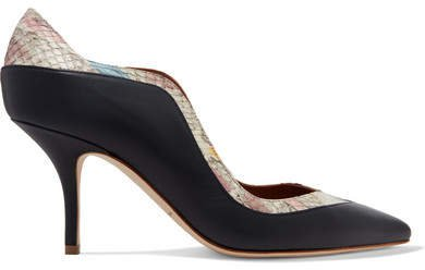 by Roy Luwolt - Penelope Ayers-trimmed Leather Pumps - Black