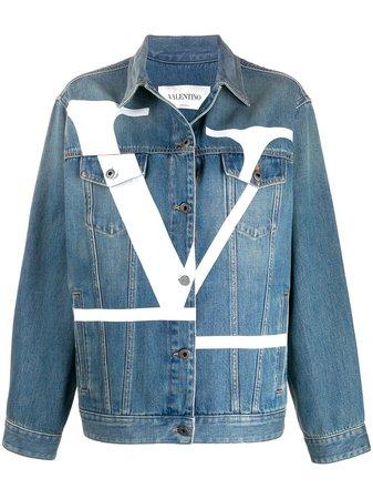 Blue Valentino Deconstructed VLOGO Denim Jacket | Farfetch.com