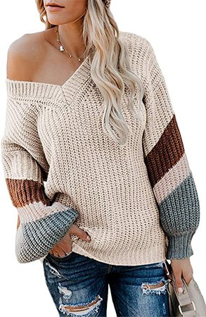 Yanekop Womens Off Shoulder Sweater V Neck Long Sleeve Striped Knitted Chunky Pullover Tops