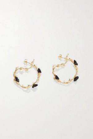 Gold Mini Flower Whirl gold vermeil, onyx and pearl earrings | Of Rare Origin | NET-A-PORTER